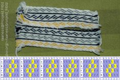 A tablet woven sample showing the effects of S and Z-threading in an otherwise similar pattern.