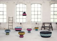 Fun designs from Swedish design duo Glimpt - Mattias Rask and Tor Palm. Meaningful project, created in co-operation with craftsmen and inspired by their traditional techniques: Superheroes seagrass stools were hand-woven in Vietnam and Forbiden Fruit lamps with hand-decorated ceramic shades were made by The Potters Workshop from South Africa. New prototypes are still coming!      www.glimpt.se