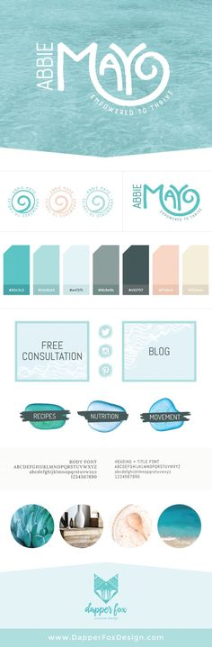 Mood Board and Brand Board for Health Coach Website Design and Branding by Dapper Fox. Modern, Clean, Ocean, Green, Blue, Pink, Coral Colorful Design. Branding and web design for entrepreneurs and small businesses by Dapper Fox