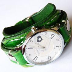Green Watch, Wrist Watch, Ladies Watch, Woman Watch, Vintage Watch, Green Leather Watch, Bracelet Watch