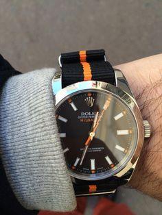 Rolex Milgauss Ref. 116400 with Nato Strap Black Orange alles für Ihren Stil - www. Gentleman Watch, Der Gentleman, Men's Watches, Cool Watches, Watches For Men, Stylish Watches, Luxury Watches, Vintage Rolex, Vintage Watches
