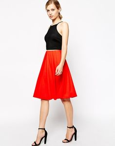 Enlarge ASOS Midi Skirt in Ponte with Bold Pleats