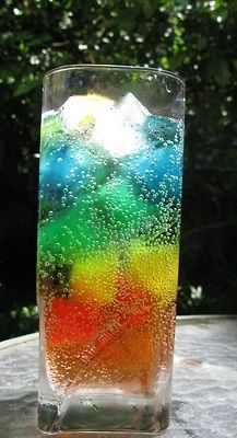 Rainbow Drink – Freeze different Kool Aid flavors in ice cube trays, place in glass and pour in Sprite