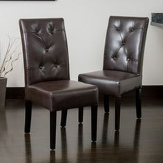 Riker Brown Leather Dining Chair (Set of 2)