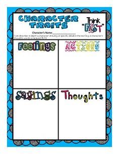 """Character Traits Common Core Aligned Graphic Organizer with """"I CAN Statement"""""""