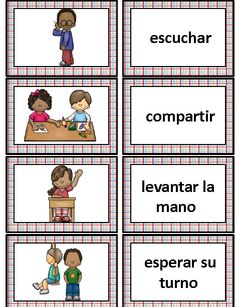 La escuela School Vocabulary Cards, Writing Center, Word Wall in Spanish Dual Language Classroom, Bilingual Classroom, Bilingual Education, Classroom Rules, Spanish Classroom, Preschool Spanish, Elementary Spanish, Spanish Activities, Spanish Vocabulary