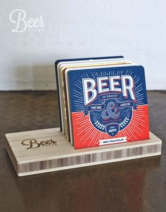 Complete Coaster Set and Premium bamboo Stand The World's Greatest Beer Coasters #iskelter