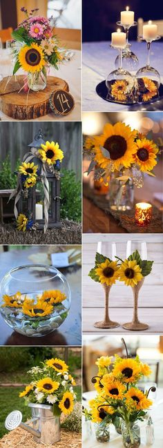 Majestic Sunflowers Inspired Wedding Centerpiece Decoration Ideas Super Ideas To Incorporate Sunflowers To Your Wedding Outdoor Sunflower Wedding Ideas Sunflower Wedding Reception Ideas Lantern Centerpieces, Rustic Wedding Centerpieces, Wedding Table Centerpieces, Centerpiece Decorations, Sunflower Decorations, Sunflower Wedding Centerpieces, Centerpiece Flowers, Quinceanera Centerpieces, Daisy Wedding Decorations