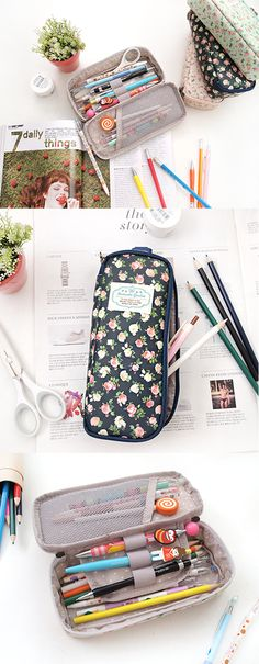 This is the sweetest pouch ever- the Romantic Garden Multi Pouch! It comes in a beautiful floral print  is lined with a cute dot pattern. When you use the double zippers to open it up, there's a diagonal mesh pocket on the left  a flap in the middle with an elastic band to secure your favorite pens  pencils. The main compartment can hold up to 20 pens! You can use this functional, vintage style pouch to store your stationery, makeup, craft supplies, or sewing kit! Choose from 3 lovely ...