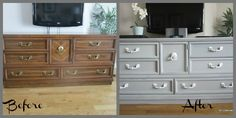 A thrift store dresser becomes our new media center with some Paris Grey chalk paint.