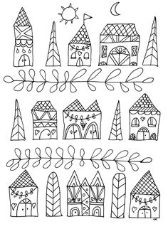 Free coloring page coloring-simple-houses. Simple drawing with cute houses
