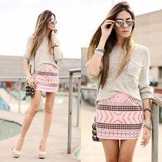 Kodifik Skirt, Antix Jumper, Romwe Sunglasses, Santafina Bag