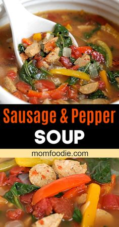 Low carb Sausage and Pepper Soup recipe that is easy to make. Healthy vegetable filled soup with chicken sausage. #lowcarb #soup #healthysoup