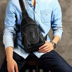 Leather Chest Bags, Handmade Chest Bag, Mens Bag OAK004