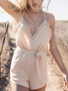 Sexy Pink V-neck Lace Stitching Knitted Cotton Open Back Rompers - WSDear.com