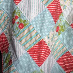 Modern Baby Quilt Poppy Red and Aqua Blue by AllAboutTheDetail