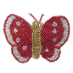 £4.00 Red beaded butterfly hair clip, handmade in Indonesia.  #Fairtrade #Butterflies #Accessories #Beads #Red