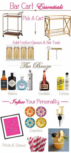 how to build a bar cart, essential items for a bar cart,