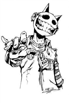 Jester - Study by randomINKstudios on DeviantArt Creepy Drawings, Dark Art Drawings, Creepy Art, Art Drawings Sketches, Cool Drawings, Creepy Sketches, Graffiti Characters, Arte Obscura, Graffiti Drawing