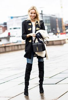 Black embellished jacket + simple top + skinny jeans + over-the-knee boots