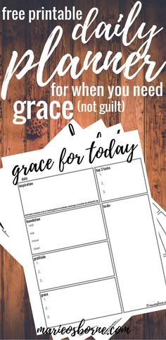 Like the sections - Need a printable daily planner but don't want the guilt of a half-completed to-do list? How about a planner that requires you give yourself some grace? Daily Planner Printable, Planner Pages, Life Planner, Happy Planner, Planner Ideas, Planner Inserts, Scrapbook, Getting Organized, Free Printables