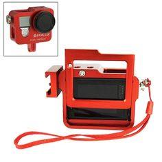 [$22.00] PULUZ Housing Shell CNC Aluminum Alloy Protective Cage with Insurance Frame & Lens Cap for GoPro HERO4(Red)