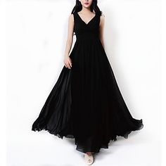 Women's Empire Waist V-neck Chiffon Sleeveless Maxi Dress Plus Size S-3XL – USD $ 19.99