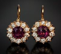 Antique 14k Rose Gold, Deep Purple Spinel And Diamond Cluster Earrings - St. Petersburg, Russia  c. 1904-1908