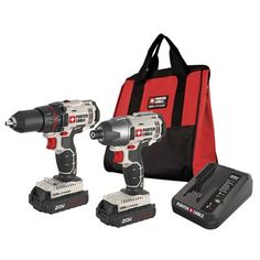 PORTER-CABLE 20-Volt MAX* Lithium-Ion Drill/Driver and Impact Driver Cordless Combo Kit (PCCK604L2)