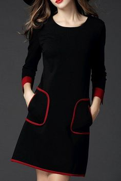 Black Pockets Long Sleeve Binding Plus Size Dress - ClothingI Cheap Dresses, Casual Dresses, Short Dresses, Fashion Dresses, Mini Dresses, Winter Dresses, Fashion Clothes, Prom Dresses, Long Sleeve Cotton Dress
