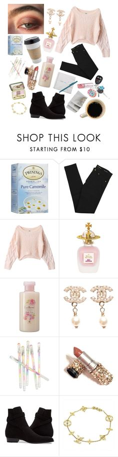 """""""Sicc Girl~"""" by silvercherryblossom ❤ liked on Polyvore featuring Twinings, Yves Saint Laurent, Vivienne Westwood, Chanel, OUTRAGE, Louis Vuitton and CoffeeDate"""