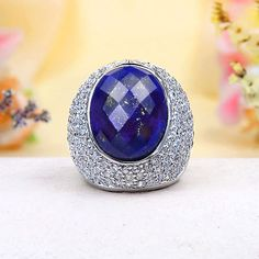 Exquisite Paved CZ, Deep Blue Lapis Ring