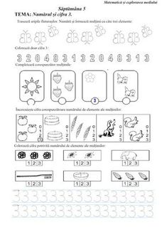 Lumea lui Scolarel...: Săptămâna 5: fișă de lucru M.E.M. (III) Alphabet Writing, Preschool Writing, Numbers Preschool, Math Numbers, Kindergarten Worksheets, Montessori Toddler, Preschool Activities, Kids Poems, Free Math