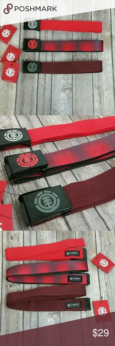 Element men's belts Brand new belts all 3 Style beyond  Size one size fits most Colors 1 red, 1 brown purple, 1 fire red Element Accessories Belts