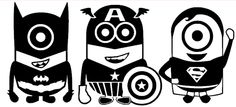 """Free Giveaway: A set of three super hero Minions (superman, capt America, batman).  Total size 12""""x24"""" One color only.   Enter Here: http://www.giveawaytab.com/mob.php?pageid=235092426609027"""