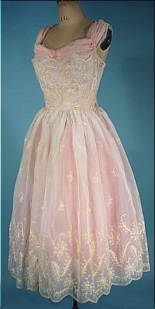 c. 1950's Dress of White Embroidered Organdy over Pink Tulle and Nylon Trim