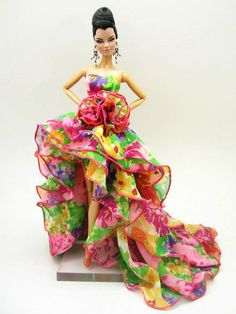 Eaki Evening Dress Outfit Gown Silkstone Barbie Fashion Royalty chiffon Flower #Eaki #DollClothingOnly