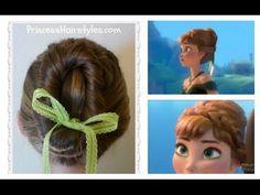 ▶ Frozen Hairstyles, Anna Coronation Bun, Disney Inspired - YouTube