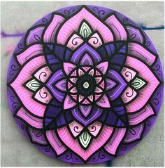 #Purple #Mandala @DanRoots Mandala Stencils, Mandala Painting, Dot Painting, Stone Painting, Wall Drawing, Expressive Art, Mandala Coloring, Barn Quilts, Rangoli Designs