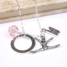 Personalized Gymnastics Necklace with Your Initial and Birthstone on Etsy, $10.00
