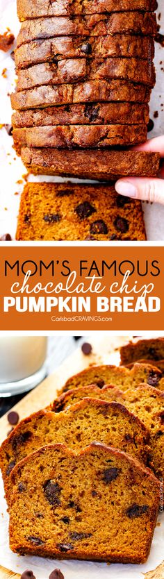 My Mom's Famous Chocolate Chip Pumpkin Bread! So incredibly moist, infused with cinnamon, cloves and nutmeg with only 2 bowls and one whisk required! Everyone will BEG you for this recipe! via @carlsbadcraving Pumpkin Recipes, Fall Recipes, Sweet Recipes, Holiday Recipes, Köstliche Desserts, Delicious Desserts, Dessert Recipes, Yummy Food, Pumpkin Chocolate Chip Bread