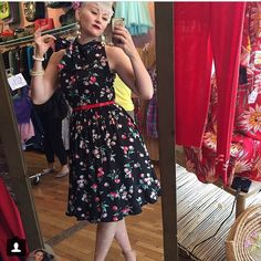 Sara looks absolutely adorable in the Streetcar Dress in the Cherries print!