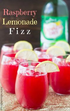 """Make Raspberry Lemonade Fizz the """"signature drink"""" at your next party! It only takes 3 ingredients and everything can be made ahead. Kid-friendly too!"""