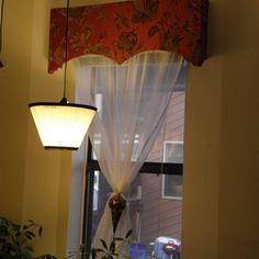 Cheap and Easy Fabric Covered Window Cornice; to replace the fabric in living room with old master bedroom valances.