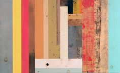 Abstract painting with reclaimed wood by Duncan Johnson - Upcyclista