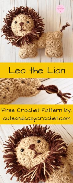Leo the Lion | Cute & Cozy Crochet | Free Crochet Pattern | Crochet Lion | Granny Squares | Stuffed Animal | Crochet Softy | Softies | Softie | Intermediate Pattern | Lion | Stuffed Lion | Birthday | Holiday | Gift | Gift for Kids | Cute | Adorable | Sweet