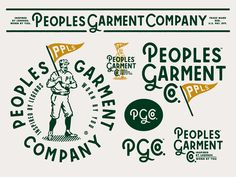 Peoples Garment Company Branding is part of Vintage logo design - Peoples Garment Company Branding designed by Emir Ayouni for Forefathers Connect with them on Dribbble; Typography Logo, Graphic Design Typography, Logo Branding, Branding Design, Brand Identity, Vintage Logo Design, Vintage Branding, Vintage Logos, Vintage Graphic