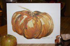 Pumpkin Spice Time in Watercolor   8 x 10 by CharlotteChamplinArt