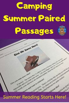 "Four CAMPING SUMMER reading comprehension passages with four written questions each. Two NON-FICTION ""Uh-Oh, A Bear!"" + ""Give Me Some More"" + FICTION ""The Campfire Visitor"", and ""Never Steal Pizza from a Bear!"". Four easy-prep passages that can be used as a paired text reading or separately when learning about summer fun, campfire bears, and camping.  These are perfect for summer reading when students' families are camping and roasting marshmallows or end of the year reading fun!"