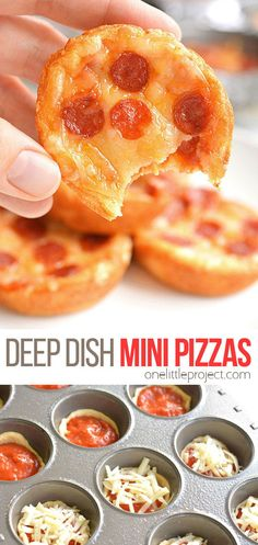 These deep dish mini pizzas are SO EASY to make and they taste amazing! They make a great lunch dinner or you could even serve them as an appetizer! Make them with your favourite toppings to satisfy even the pickiest of eaters! Yummy Snacks, Snack Recipes, Cooking Recipes, Yummy Food, Party Appetizer Recipes, Kid Cooking, Easy Snacks, Pizza Sandwich, Mini Pizzas